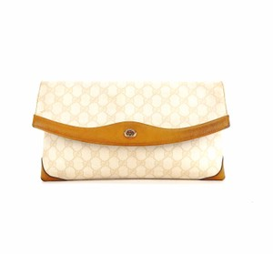 Gucci Vintage Monogram Toiletry Italy Gg Cream Clutch