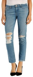Paige Midrise Distressed Ripped Knees Ankle Slim Boyfriend Cut Jeans-Distressed