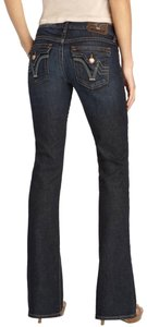 PRVCY Comfortable Classic Flare Flattering Boot Cut Jeans-Dark Rinse