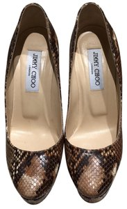 Jimmy Choo snake print leather tan Pumps