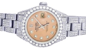 Rolex Datejust Oyster 26MM Full Iced Out Pink Dial Diamond Watch 9.75 Ct