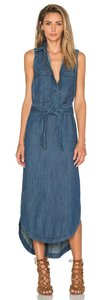 Blue Maxi Dress by Free People Sleeveless Denim Belted