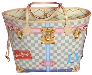 Louis Vuitton Rare Neverfull Sold Out Collectors Tote in Damier Azur