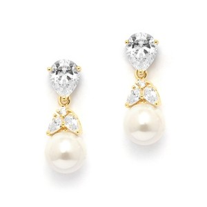 Gold 14k Brilliant Crystals Pear Drop Earrings