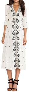 Ivory Maxi Dress by Free People Embroidered V-neck Floral Hi Lo Empire Waist