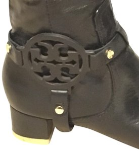 Tory Burch Leather Gold Monogram Black Boots