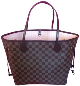 Louis Vuitton Rare Sold Out Neverfull Tote in Damier Ebene Rose Ballerine