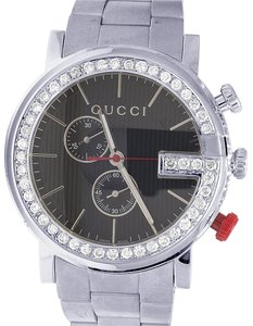 Gucci Mens 101 G-Chrono 44MM S.Steel Black Dial Diamond Watch YA101361 3 Ct