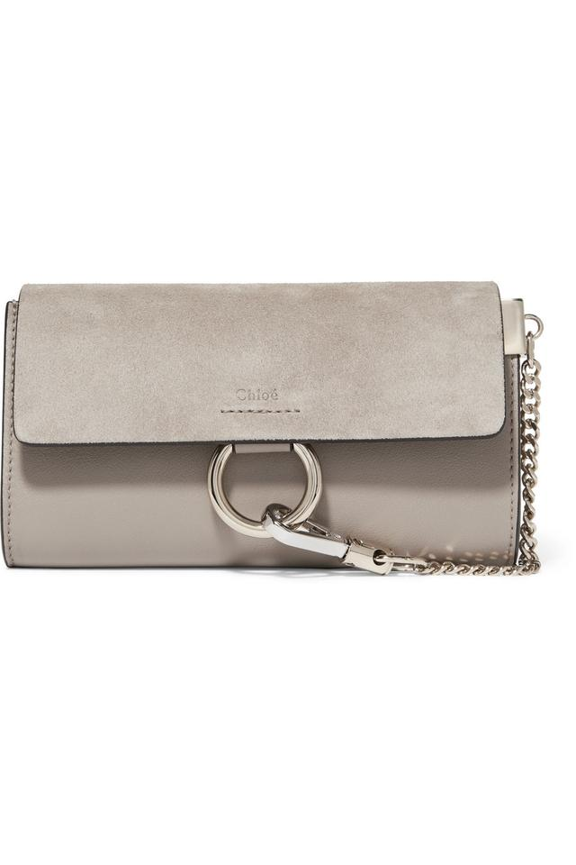f09b245d766c Chloé Faye Mini Wallet On Strap Gray Suede and Leather Shoulder Bag ...