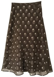 Kate Hill Silk Skirt Brown/White