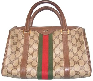 4705b0b26 Gucci Shades Of Boston Excellent Vintage Accessory Col Satchel in brown  large G logo print coated