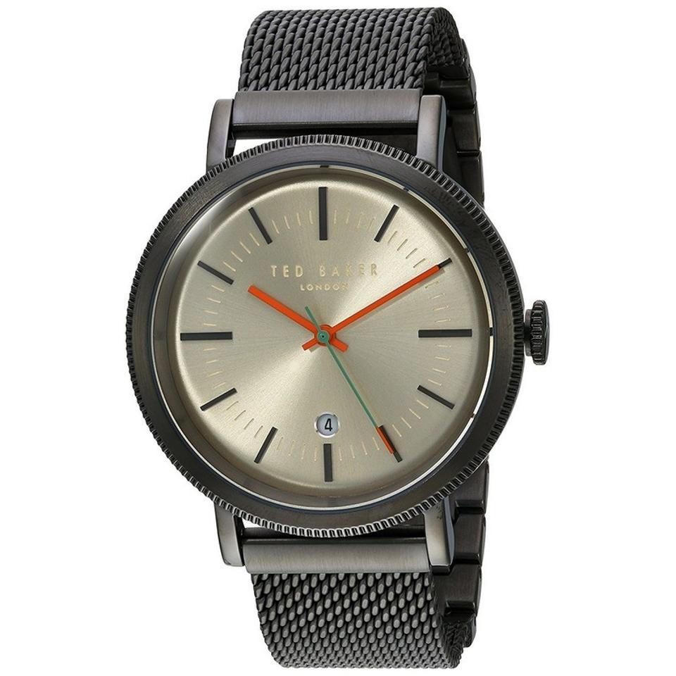 be41a19db Ted Baker 10031510 Men s Grey Mesh Bracelet With Beige Analog Dial Watch  Image 0 ...