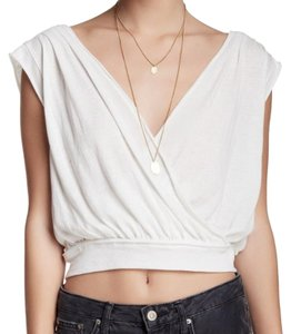 Free People Gathered Shoulders Drapey Suprlice Neckline Banded Waist Keyhole Back Top Ivory