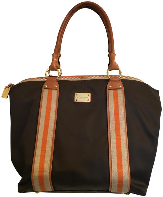 Item - Large with Leather Handles Brown Nylon Tote