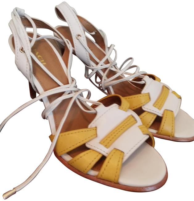 Item - White Yellow Brown 9b Strappy Laced Sandals Size US 9 Regular (M, B)