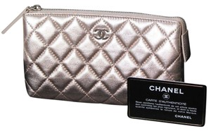 Chanel AUTHENTIC CHANEL METALLIC QUILTED LEATHER CC LOGO COSMETIC BAG POUCH