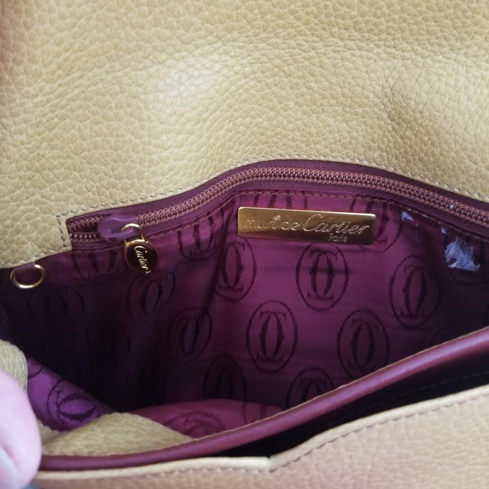 f497c7430e57 Cartier Vintage Shoulder Or Mustard and Burgundy Color Leather Cross Body  Bag - Tradesy