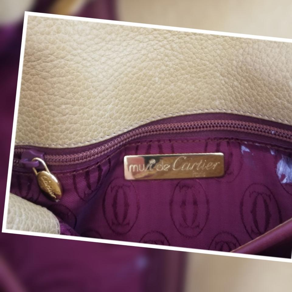 5410b3a08588 Cartier Vintage Shoulder Or Mustard and Burgundy Color Leather Cross ...