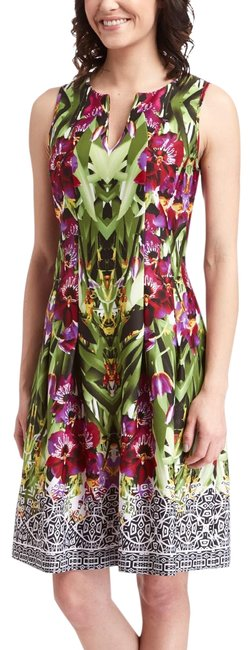 Item - Green & Purple Floral Sleeveless Mid-length Short Casual Dress Size 14 (L)