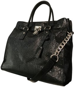 a6279d04f859 Michael Kors Patent Leather 30h3ghmt3a North South Croc Crocodile Tote in  Black