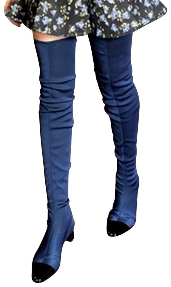 0ee8b9989c1 Zara Blue Over The Knee Stretch Black Cap Toe Boots Booties Size US ...