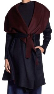 Diane von Furstenberg Shawl Collar Optional Sash Belt Open Front Two Front Pockets Two Toned Trench Coat