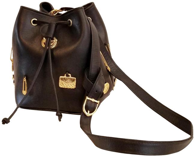 Item - Bucket Black with Gold Tone Charms Lambskin Leather Shoulder Bag