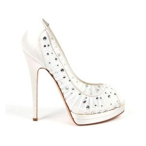 Casadei Leather Embellished Bridal Italian Pleated White Pumps