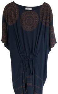 Megan Park short dress navy blue with brown stitching Tunic Embroidery And Tan on Tradesy