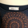 Megan Park short dress navy blue with brown stitching Tunic Embroidery And Tan on Tradesy Image 1