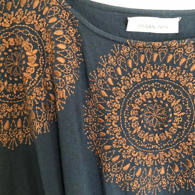 Megan Park short dress navy blue with brown stitching Tunic Embroidery And Tan on Tradesy Image 2