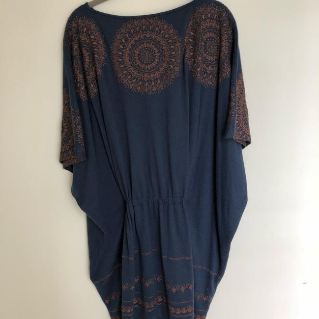 Megan Park short dress navy blue with brown stitching Tunic Embroidery And Tan on Tradesy Image 3