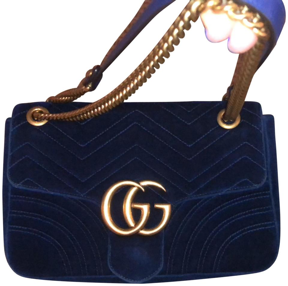 Gucci Marmont Large Rotal Dionsysus Ink Blue Velvet Cross Body Bag 39% off  retail