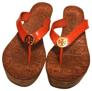 Tory Burch orange and light brown Wedges