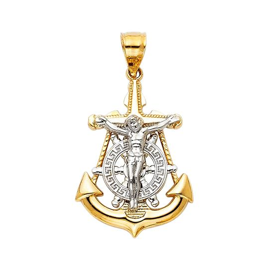 Preload https://img-static.tradesy.com/item/23164882/two-tone-14k-yellow-white-jesus-crucifix-anchor-religious-pendant-charm-0-0-540-540.jpg