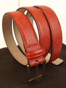 Gucci Red Tabasco Diamante Leather Square Gg Logo Buckle Belt 110/44 345658 Men's Jewelry/Accessory