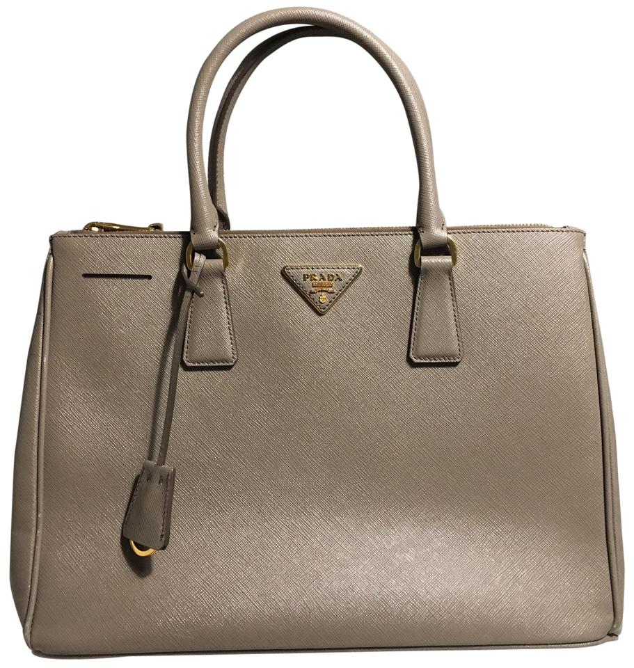 Prada Handbag Taupe Saffiano Leather Satchel - Tradesy