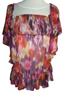 Belle du Jour Sheer Crop Top Purple/Pink/Orange/Tan