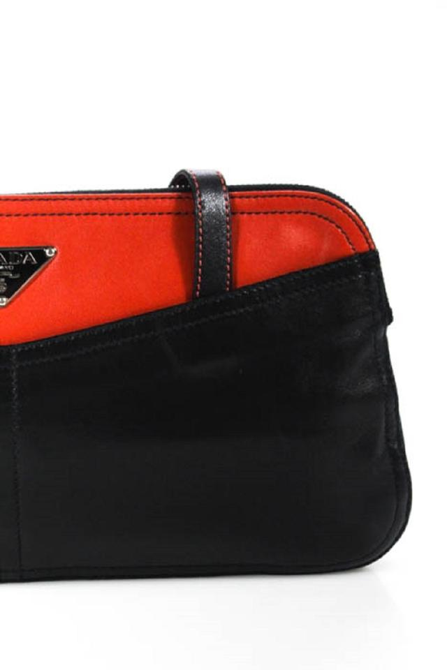 3c5dcb495122 Prada Vintage Prada/Designer Purses Reddish Orange and Black Leather  Shoulder Bag - Tradesy