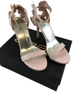bebe Faux Suede Ankle Strap Party Pink Sandals
