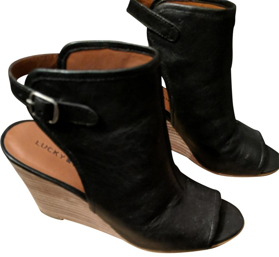 Lucky Brand Black Risza Leather Wedge Mulesslides Size Us 8 Regular
