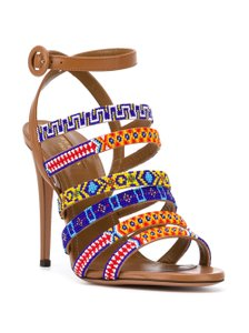 Aquazzura Masai Heels Leather Heels Brown/Whiskey with Colorful Beaded Strap Sandals