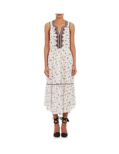 Item - White/Burgundy/Navy/Multi Leena Midi Long Casual Maxi Dress Size 6 (S)