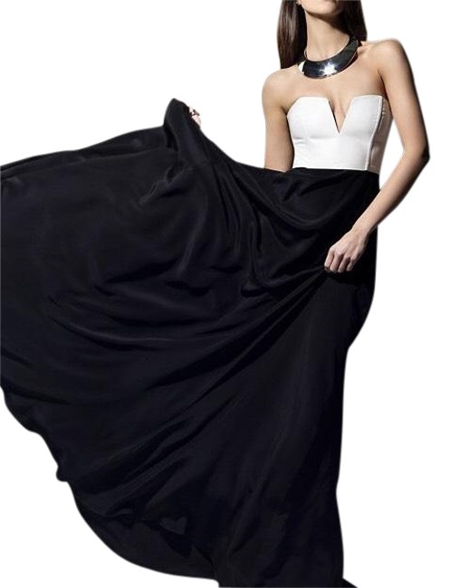 Item - Black and White By A Michelle Leather Corset Silk Maxi Long Formal Dress Size 2 (XS)