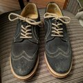 1901 Leather Suede Imported Navy Blue Flats Image 1