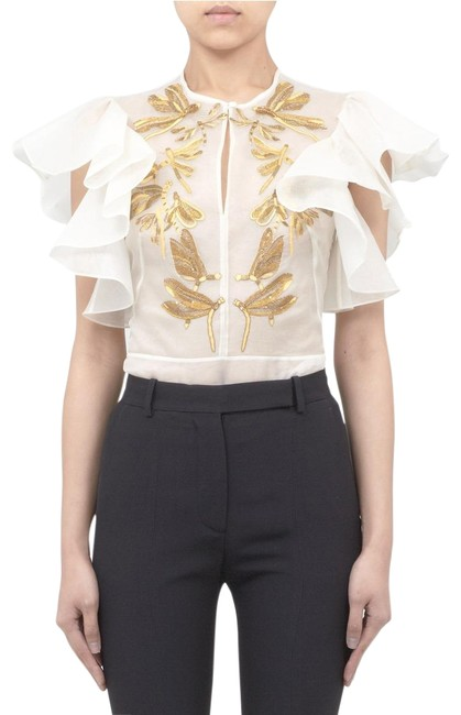 Alexander McQueen Top Cream/White/Gold Image 0