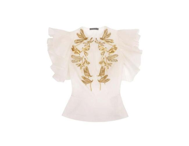 Alexander McQueen Top Cream/White/Gold Image 2