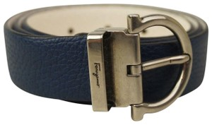 Salvatore Ferragamo Blue White Reversible Gancini Leather Women's Belt