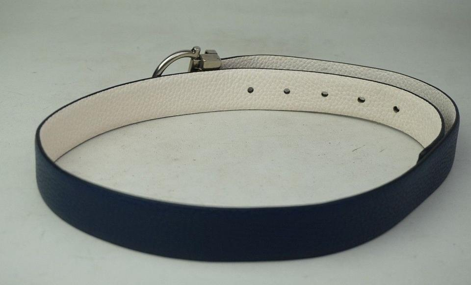 Salvatore Ferragamo Blue and White Reversible Gancini ...