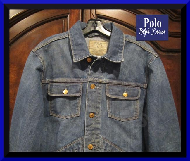 Polo Ralph Lauren Distressed Edges Stitch Design 1967 Shank Buttons Seamed Yokes Adjustable Back Tabs Womens Jean Jacket Image 1
